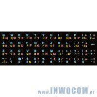 Наклейки для клавиатуры RUS черные с красными буквами