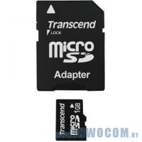 SD-micro Card 1Gb Transcend <TS1GUSD>+adapter (Ret)