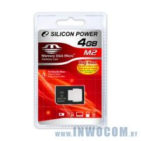Memory Stick Micro M2 Silicon Power 4Gb + адаптер Pro Duo (Ret)
