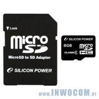 SDHC-micro Card 8Gb Silicon Power Class 4 SDHC + адаптер