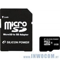 SDHC-micro Card 8Gb Silicon Power Class 10 + адаптер