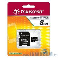 SDHC-micro Card 8Gb Transcend Class 4 + адаптер