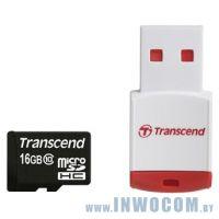 SDHC-micro Card 16Gb Transcend Class 10 (TS16GUSDHC10-P3)