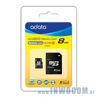 SDHC-micro Card 8Gb A-Data adapter