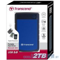 2.5 2Tb Transcend StoreJet TS2TSJ25H3B USB 3.0 Anti-Shock Black-Blue