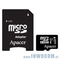 SDHC-micro Card 16Gb Apacer AP16GMCSH10U1-R with 1 Adaptor