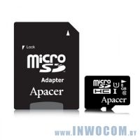 SDHC-micro Card 8Gb Apacer AP8GMCSH10U1-R with 1 Adaptor