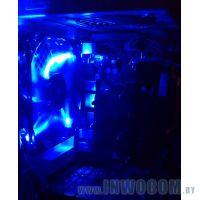 Delux 12cm LED Fan W/4*LED (1100RPM) Blue Color