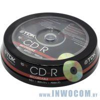 CD-R TDK 700Mb 52x sp., уп.10  шт на шпинделе