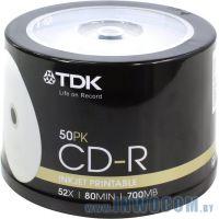 CD-R TDK 700Mb 52x sp., уп.50 шт на шпинделе, printable