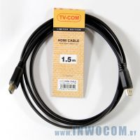 HDMI-HDMI TV-COM 1.5m ver1.4, (CG200F-1.5M), плоский, Black