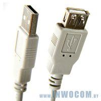 Кабель удлинитель USB 2.0 Am - Af Aopen (ACU202-G) 3м серый