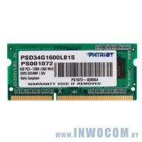 4Gb PC-12800 DDR3-1600 Patriot PSD34G1600L81S (SODIMM)
